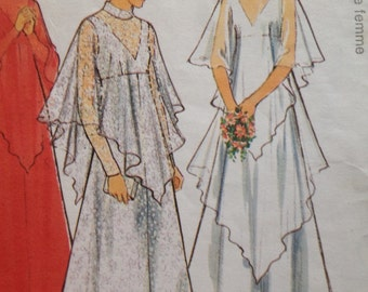 70s Wedding Dress Pattern Style 2159 High waist V Neck Layered Hankie Hem Bridal Bust 34