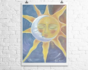 Fine Art Print- sun and moon- eternal love 12x18