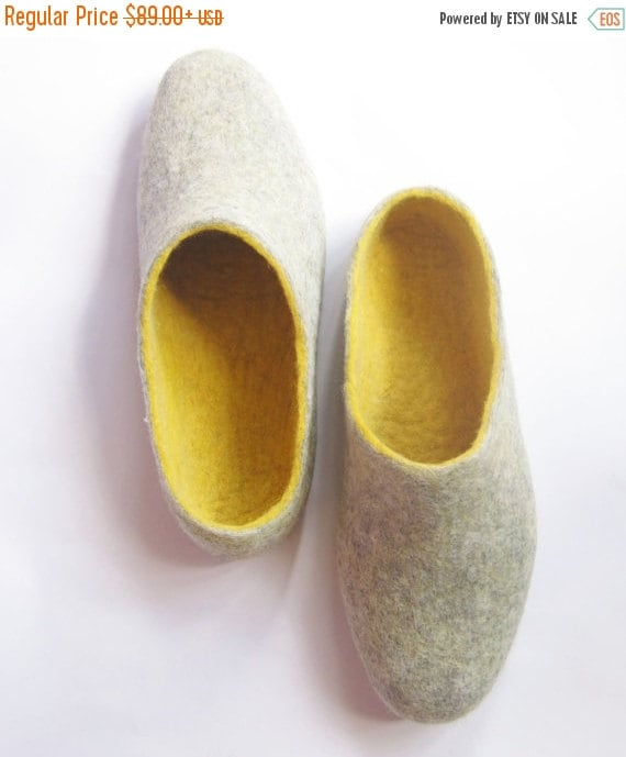 FLASH SALE BIG Sale. Love Beer. Mens slippers. Felt Slippers Stone Grey / Yellow Amber. 10 options of color rubber sole.