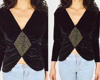 1990's BLACK VELVET and GOLD Blouse. V Neck Line Long Sleeves. 90's Grunge Mod Art Deco