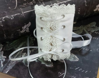 Lace Up Corset Wristlet – Victorian Classic - White