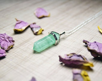 Green Fluorite Gemstone Point Necklace - Sterling Silver Chain - 20 to 24 inches - Reiki Necklace, Minimalist Necklace, Witchcraft