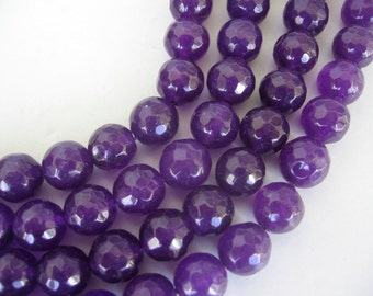Full Strand Purple Jade Round Faceted Beads 10mm