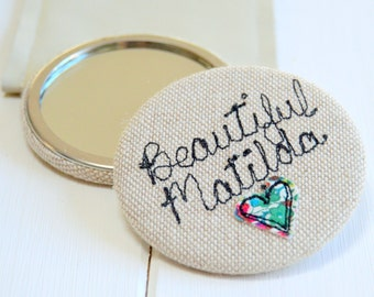 Personalised - Pocket Mirror - Stocking Filler - Bridesmaid Thank you - Hen Party Gift - Matron of Honour - Best Friend Gift - Gift for Her