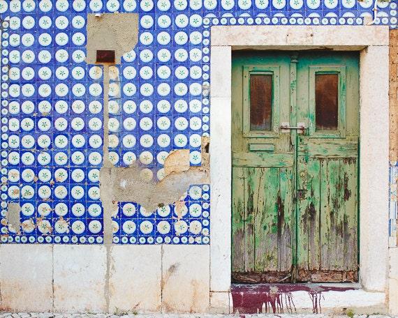 Door Photo, Travel Photograph, 8x10 fine art print, Blue Pattern, Tile, Green, Blue, Lisbon Wall Decor, Europe Photos, The Green Door