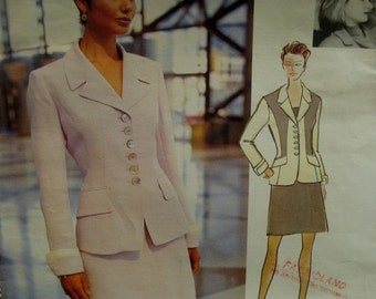 90s Fitted Jacket Pattern, Notched Collar, Long Cuffed Sleeves, Welt Pockets, Short Skirt, Myrene De Premonville Vogue No. 1718 Size 6 8 10