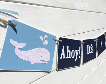 BABY BOY Banner, Ahoy, nautical baby shower, navy and baby blue, whale baby shower, baby boy, nursery decoration, Baby shower garland