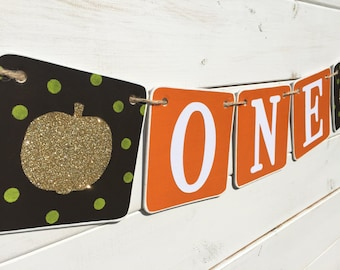 ONE Birthday Banner, first birthday, fall birthday, brown orange gold, pumpkin banner, gold pumpkin, one banner, fall birthday banner