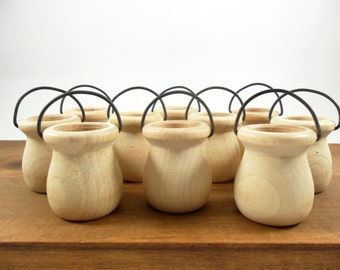 """Wood Bean Pots w/Wire Handle Miniature 1 9/16"""" H x 1 5/16"""" W Unfinished Wood - 10 Pieces"""