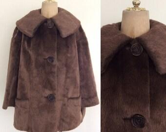 1960's Brown Faux Fur Swing Jacket Vegan Fur Coat Size Large by Maeberry Vintage