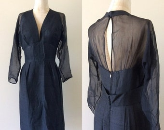 "SALE 1960's Silk Wiggle Dress w/ Halter Top Illusion Sleeves & Back Little Black Dress Vintage Size Small Medium 27"" Waist by Maeberry Vinta"