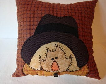 Scare crow girl, decorative pillow, fall decor, home decor, appliqued pillow, appliqued scare crow pillow