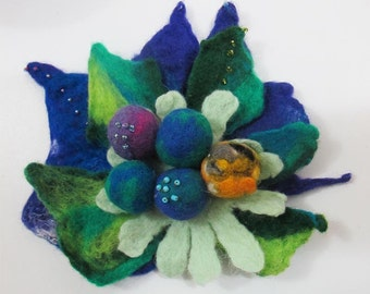 Felted brooch flower Eco-friendly statement  unusual unique  glamorous XL size