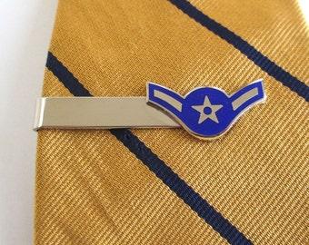 US Air Force Tie Clasp / Tie Clip - Vintage Unused, USA Silver & Blue
