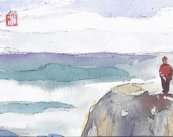 Watercolor Impressionistic Painting  Watercolor and Ink Art  Ocean Painting Original Art Harmony Seal SFA