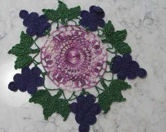 Vintage 1950's Purple Grapes Doily Linen Topper--Hand Crocheted