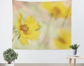 Yellow Flower Tapestry - Nature Tapestry - Yellow Wall Hanging - Art Tapestry - Tapestry Wall Hanging - Wall Tapestries - Photo Tapestry