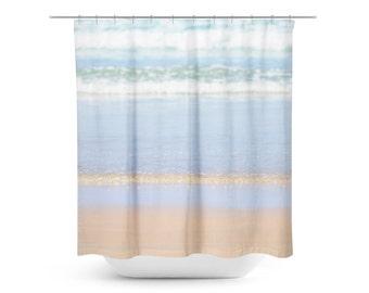 Shower Curtain Beach - Blue and Tan Decor - Beach Bathroom Decor - Boho Shower Curtain - Beach House Decor - Pastel Blue Decor - Aqua Photo