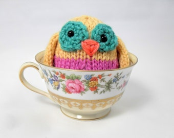 Hand Knit Owl. Pink and Yellow Owl. Woodland Creature Plushie. Pretend Play. Owl Stuffie. Basket Stuffer. Ready To Ship. Gifts Under 10