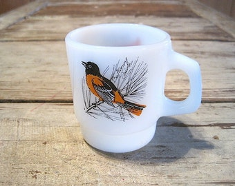 Fire King Stacking Song Birds Mug with Cardinal & Oriole