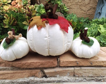 Fabric pumpkins - set of 3, halloween, thanksgiving or fall centerpiece, ready to ship - white pumpkins