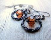 Twisted Hoop Earrings Black Brass Metal Cinnamon Girl Boho Chic Bohemian Jewellery Hippy Style Fall Color Czech Glass Earrings Hoop Dangles