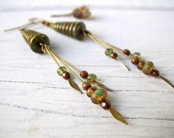 Long Bohemian Dangles, Hippie Bijoux Earrings, Czech Picasso Glass Jewelry, Rustic Boho Jewelry, Cone Shaped Earrings, Coachella Style