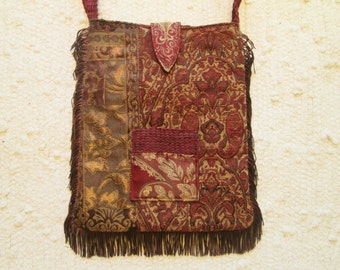 Bohemian Gypsy Tapestry Brocade Fringe Cross Body Bag