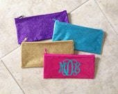 RESERVED (8) Personalized Glitter Bag - Monogram Pencil Bag