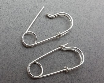 One Pair of Sterling Silver Safety Pin Earrings
