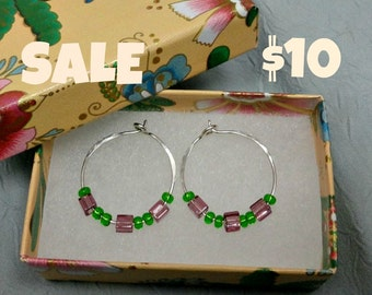 Sterling Silver Hoops With Green and Purple Glass Beads