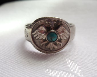 Sterling Silver Thunderbird Turquoise Ring Southwest Design