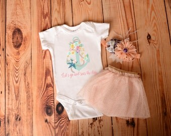 Let's Go And Seas The Day Bodysuit, Girls Clothes, Hipster Baby Clothing, Baby Shower Gift, Cute Funny Baby Bodysuit, Nautical Baby Bodysuit