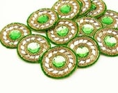Mirror Beaded Applique Craft Patch Supplies Designer Sewing Applique Dress Patch Bridal Applique Sew Green Beaded Applique By 12 Pcs SAP322F