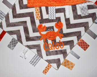Personalized Ribbon Tag Blanket, Crab Blanket, Underwater Theme, Gray Chevron, Orange Minky, Pacifier Clip, DOUBLE MINKY, Large 16 x 16