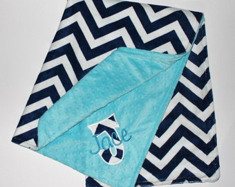 Personalized NAVY CHEVRON MINKY Baby Stroller Blanket with Turquoise Dot MInky - Appliqued Initial and Name Embroidered