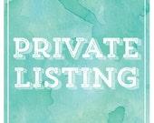 CUSTOM PRIVATE LISTING - For Rachael Grammer - deposit