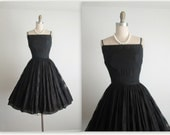 STOREWIDE SALE 50's Cocktail Dress // Vintage 1950's Mr. Mort Designer Classic Black Organza Cocktail Party Dress XS