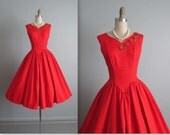 Reserved. 50's Red Dress // Vintage 1950's Red Rose Full Cocktail Party Prom Dress S