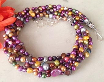 Stylish multi color pearl necklace, gift idea, natural pearls, freshwater pearls, chunky, gift idea for her, colorful, multi-strand, beaded
