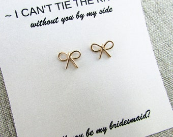 Tie-the-knot Earrings, 14K Gold Filled, Bridesmaid Earrings, Be My Bridesmaid, Proposal, Marriage, Bow Earrings, Bridesmaid Gifts Under 15