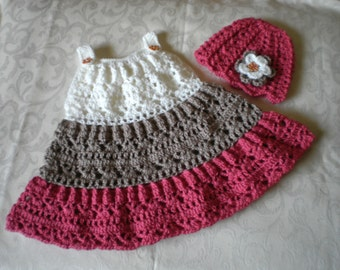 Crocheted Three-Tiered Dress and Hat Set for 12 to 18 Months