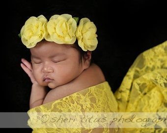 Yellow Flower Headband - Baby Headband - Newborn Headband - Yellow Floral Headband - Flower Crown
