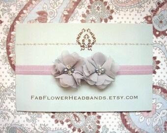 Lilac and Gray Baby Headband - Newborn Headband - Grey - Lilac - Gray Flowers on Lilac Headband - Gray and Lilac Headband - Small Flowers