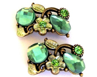 2 green 2 hole slider beads, floral green, two hole buttons, spacers, peridot and light olivine green stones