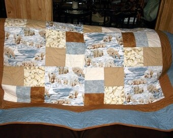 """POLAR BEAR QUILT  Sale Lap/Bunk/Toddler/Child/Twin appx 63"""" sq New/whites and browns/blues/polar bears and cubs"""