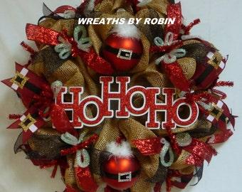 HO HO HO Wreath, Christmas Wreath, Deco Mesh Wreath