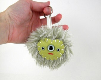 Kawaii Handbag Charm Faux Fur Pom Pom Keychain Monster Keychain Cute tween bag accessory accessories bag charm pastel green triclops monster