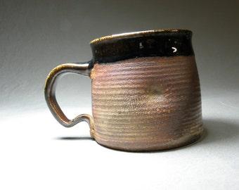 Coffee cup.  Soup mug. Wheel thrown cup.  Large mug. 14oz cup. Soda fired mug
