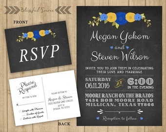 Chalkboard Wedding Invitation and Reply Card   Wedding Invitation Suite   Blue and Yellow   DIY Printable   Rustic Wedding Invite   WS01